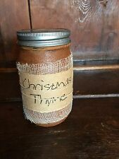 Primitive Country Colonial Grubby Jar 16Oz. Candle Made In USA ~ Christmas Thyme