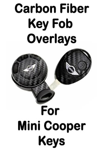 Mini Cooper Carbon Fiber Key Fob Overlay Sticker Decal Emblem Stripe 3M Wrap S