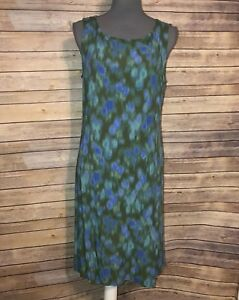 J-Jill-Womens-petite-size-16-sleeveless-dress-rayon-blue-Green-Zipper-Z77
