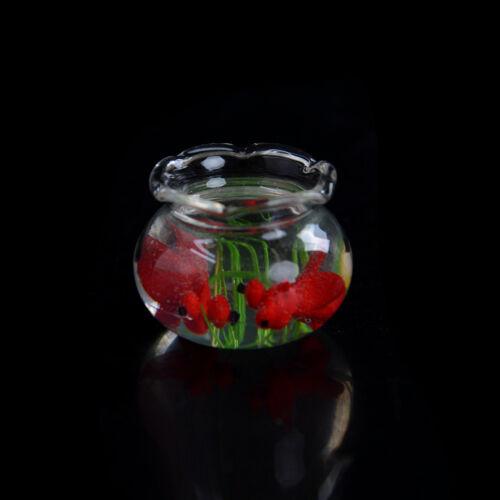 1:12 Miniature Glass Fish Tank Transparent Aquarium Dollhouse Ornaments Decor Gh