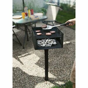 Park-Style Camping Outdoor Single Post Steel BBQ Charcoal Grill w/ Cooking Grate