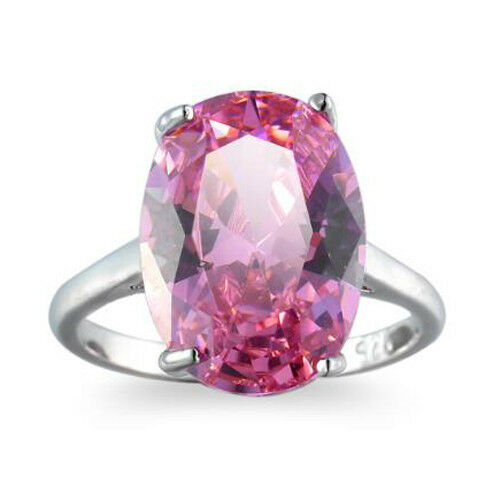 Special Price Huge Natural Sweet Pink Topaz Gems Silver Woman Ring Size 6-10