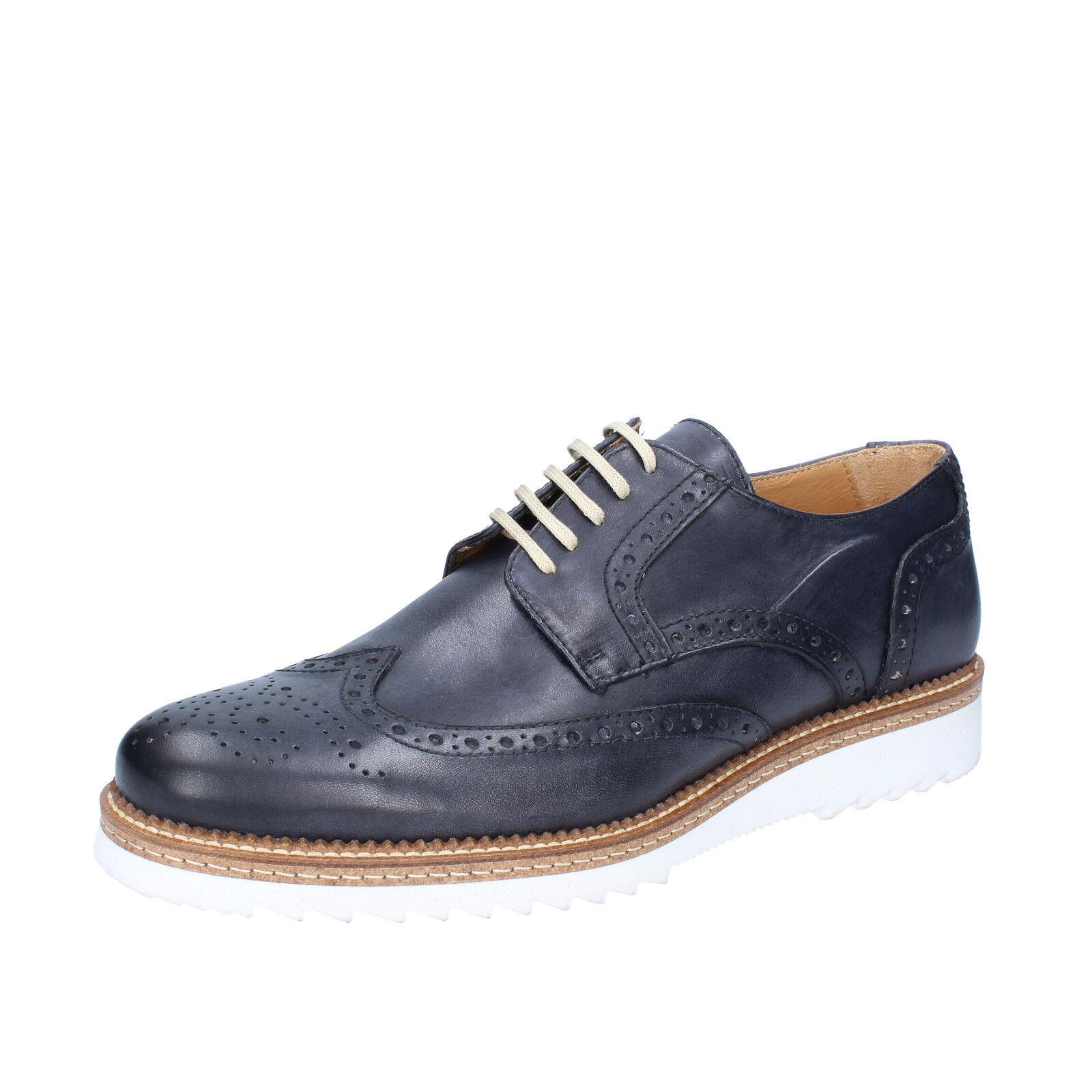 Mens chaussures FDF chaussures 9 (UE 43) élégante bleu Leather bz763-b