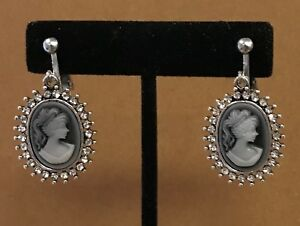 Details About Vintage Silver Carved Blue Gray Lady Cameo Rhinestone Dangle Earrings Clip On