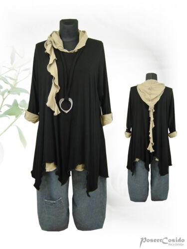 PoCo DeSiGn LAGENLOOK Shirt Tunika Hoodie Zipfelkapuze L XL XXL XXXL natur
