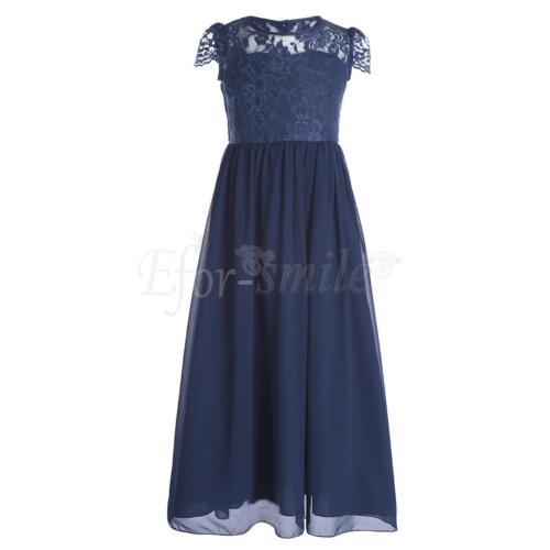 Flower Kids Girls Party Formal Bridesmaid Dress Lace /& Chiffon Long Maxi Skirt