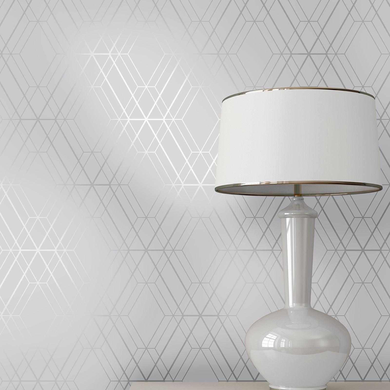 Welt Der Tapete Metro Diamant Geometrisch Grau//Silber WOW001 Neu Metallisch