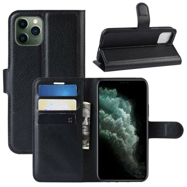 PM_ For iPhone 11 Pro Max Case With Wallet Credit Card Holder Faux Leather Cov