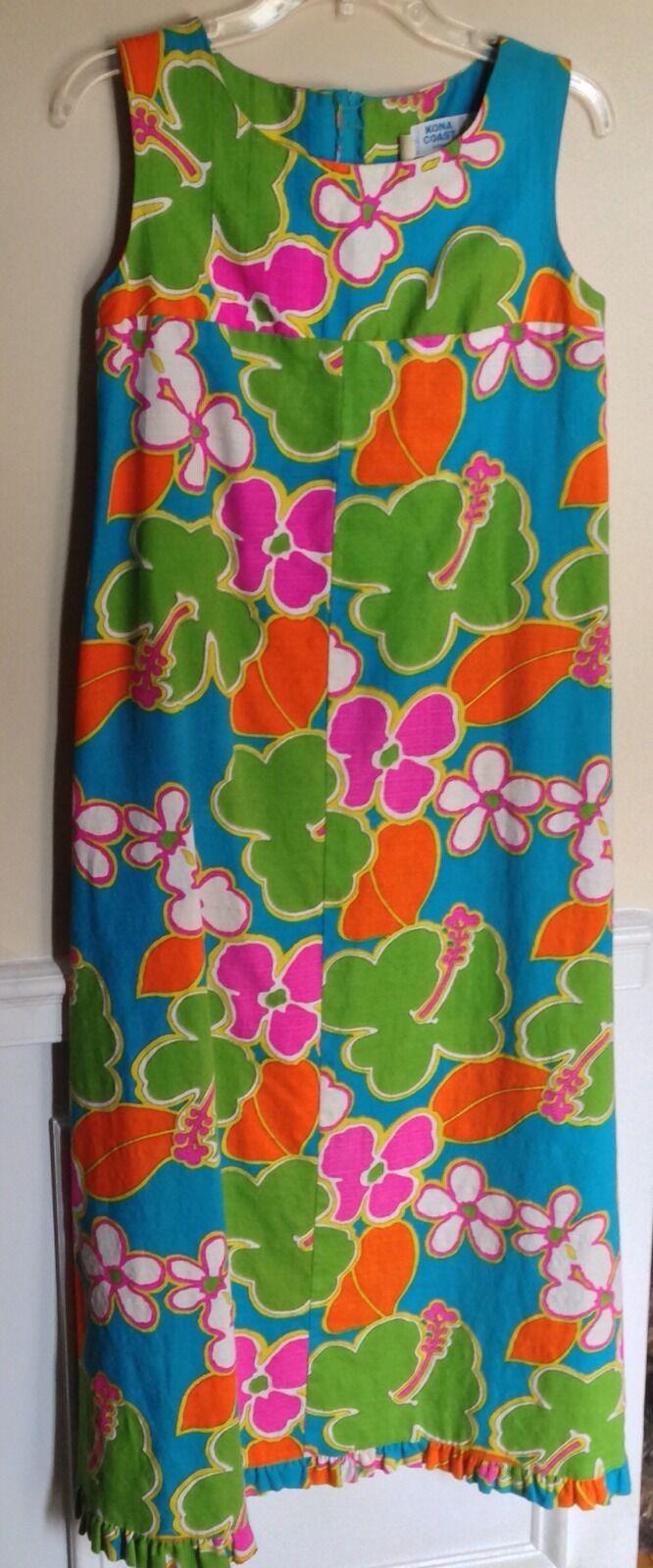Vintage Kona coast Hostess Maxi Dress Mod 60's Floral Hawaii Made XS 33  Chest