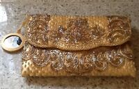 With Tags Valerie Stevens Gold Beaded Versatile Evening Purse With Mirror