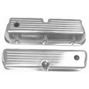 SB Ford Tall Valve Covers - Ballmilled w/ Hole & Baffled Polished Aluminum R6172