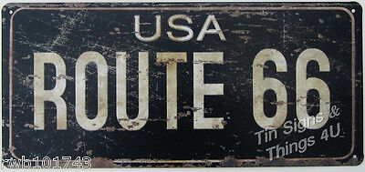 Route 66 Vintage License Plate Look TIN SIGN garage diner bar metal wall decor