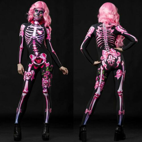 Adult Women Skeleton Skull Halloween Party Catsuit Fancy Jumpsuit Size S-XL New