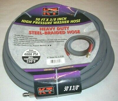 KT Industries 6-7130 3//8 x 50/' High Pressure Washer Hose Quick Connects 4000 PSI