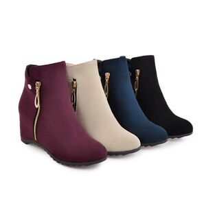 Ladies Zip Ankle Boots High Heel Faux Suede Round Toe Platform Shoes Size UK 1~8