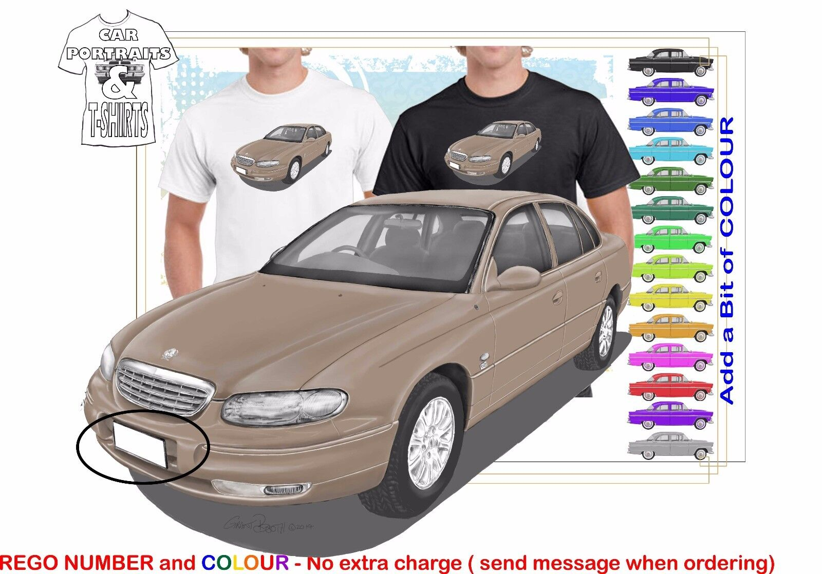 CLASSIC 99-2001 WH STATESMAN  ILLUSTRATED T-SHIRT MUSCLE RETRO SPORTS