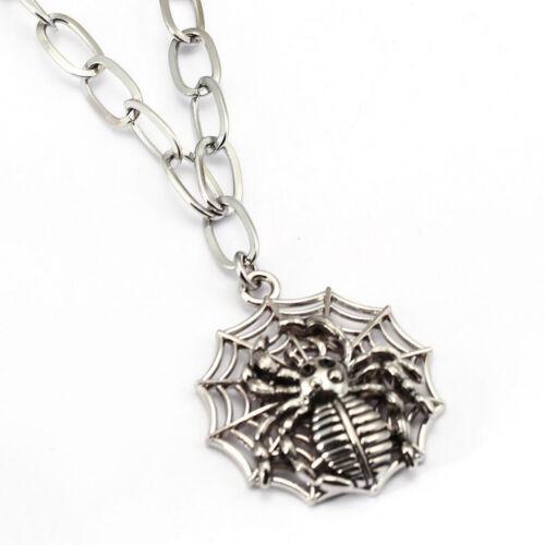 Vintage Punk Men/'s Stainless Steel Spider Web Pendant Biker Long Necklace Chain