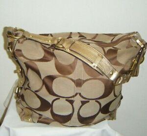 Coach-Carly-Signature-Print-Jacquard-Leather-Handbag-in-Brown-w-Gold-Trim-EUC