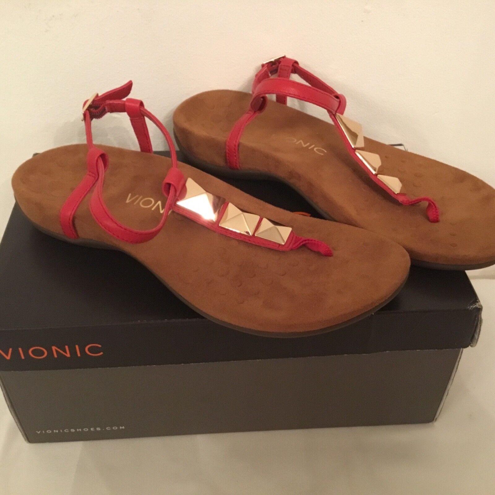 Vionic Orthotic Rest Nala Stud Detail Sandal with FMT Technology - Red-uk 7