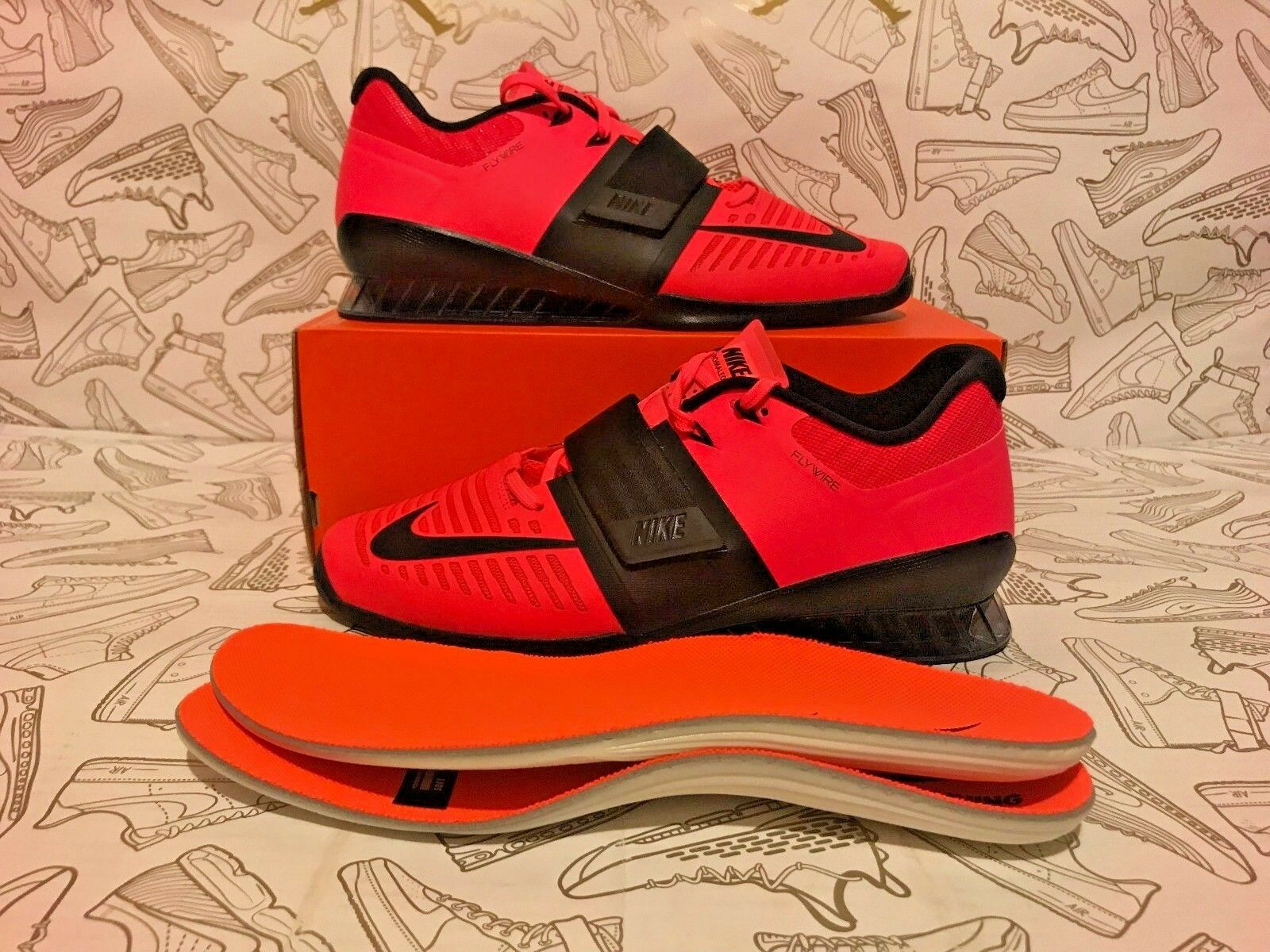 NEW Nike Romaleos 3 Weight Lifting Shoes Solar Red 852933-602 Men's Size 13