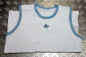 Genuine-Royal-Air-Force-RAF-PTI-White-Vest-With-Blue-Trim-with-amp-Without-Badge