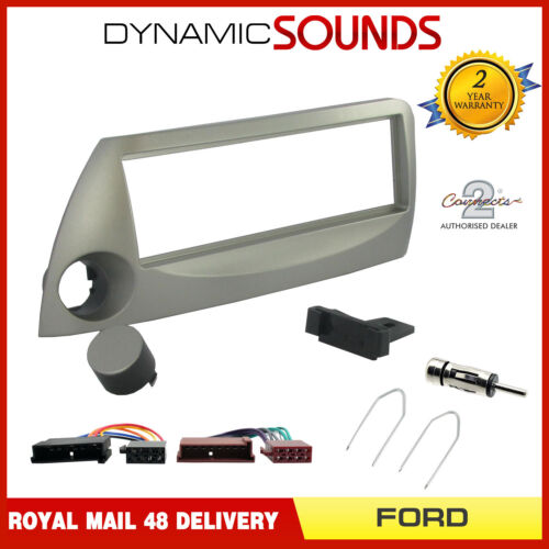Car Stereo Silver Fascia Facia Fitting Kit Wiring Loom Aerial Keys for FORD KA