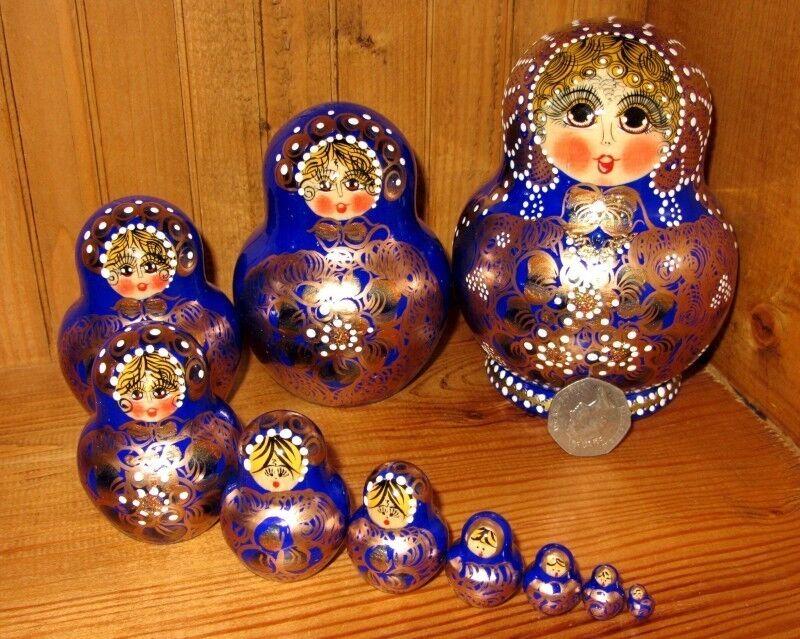 Russische Matrjoschkapuppen handbemalt 10 Blau Gold unterzeichnet, Original