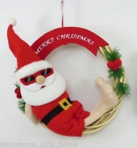 Christmas Wreath.Details About Sunny Santa Aussie Christmas Wreath Cane Felt Xmas Hanging Decoration New