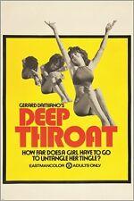 DEEP THROAT vintage adult movie poster AQUARIUS 1972 provocative 24X36 RARE