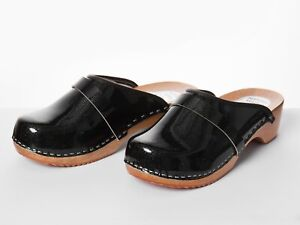 d4cae2ac004 Details about Womens Hand Made Clogs Ladies Wooden Sole 100% Natural  Leather 3 4 5 6 7 8 Black