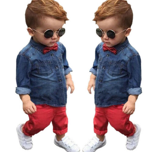 Kids Baby Boys Gentleman Outfit Set Shirt Top Coat Pants Wedding Party Casual