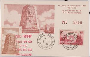 CARTE-MAXIMUM-ARC-DE-TRIOMPHE-6-NOVEMBRE-1938-YT-408-HAUDROY-AISNE-02-LA-PIERRE