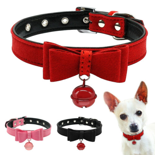 Suede Leather Bow Tie Dog Collar Soft Cat Puppy Small Pet Collar for Chihuahua