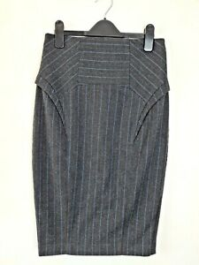 Cue-High-Waist-Pin-Stripe-Pencil-Skirt-Women-039-s-Size-8-AU-MADE-Europe-Fabric