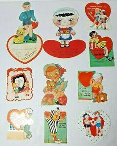 Vtg 1930-40s Valentine Cards Die Cut Lot Of 10 #10 Girls Boys Clown