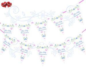1st-Premier-Sainte-Communion-Rose-Papillons-fleurs-Theme-Bunting-Banniere-15-drapeaux