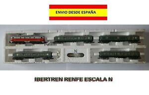 TREN-ESCALA-N-IBETREN-RENFE-LOCOMOTORA-Y-4-VAGONES-MAQUETAS-FERROVIARIOS-ESPANA