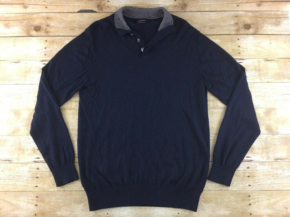 Charles Tyrwhitt Weekend Sweater Mens LT Navy bluee Henley 100% Wool Thin Knit