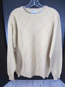 American Blue Mens Size Large Cashmere Argyle Sweater Yellow | eBay