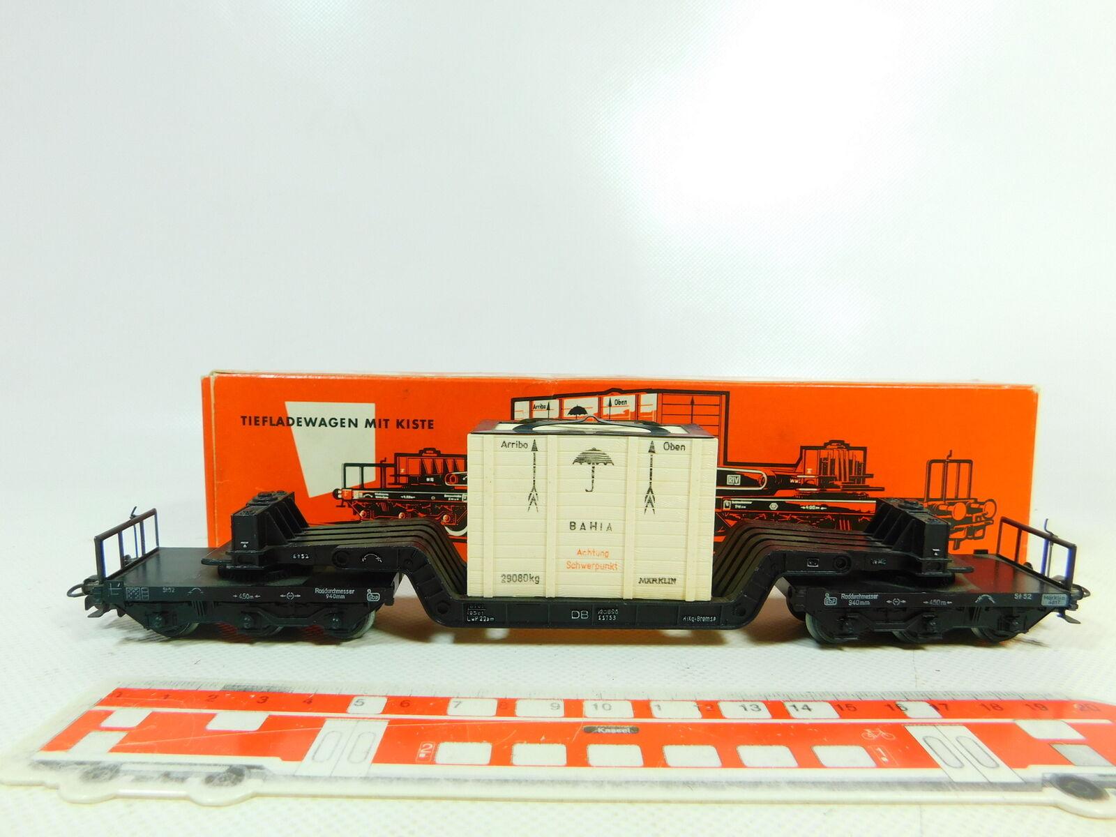 BS781-0,5 Märklin H0 Ac 4618 Goods Low Loading Wagon with Bahia-Box Db S.G Ovp
