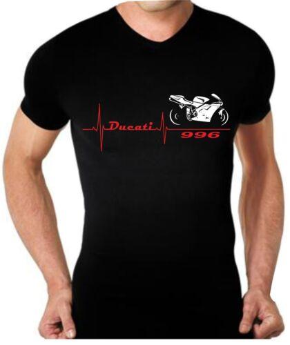 T-shirt maglia per moto DUCATI 996 battito cuore tshirt maglietta