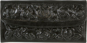 WOMENS-TOOLED-Wallet-MEXICAN-Leather-Clutch-TRI-FOLD-TAN-BLACK-BROWN-BURGUNDY