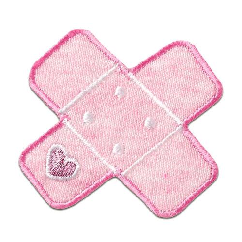 Aufnäher Pflaster Flicken mit Herz rosa Bügelbild 5x5cm