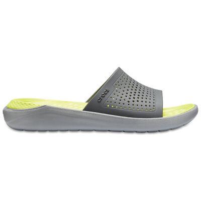 NEW Genuine Crocs Mens LiteRide Slide Slate Grey/Light Grey