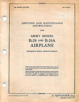 B-29 & B29A Erection and Maintenance Inst's Flight Handbook Flight Manual (CD)