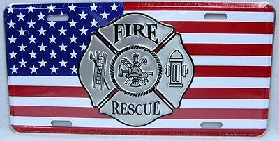 Fire Rescue License Plate Car Truck Tag Fireman