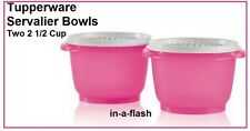 Tupperware TWO SERVALIER BOWLS 2 1/2 Cup Bowl Pink Punch Containers White Seals