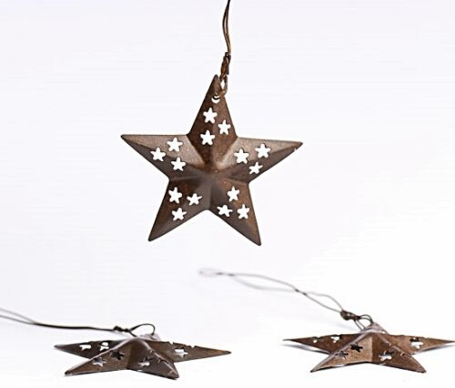 Primitive 3 piece RUSTIC BARN STAR ORNAMENT with CUTOUT PUNCHED DESIGNS 1.5/""