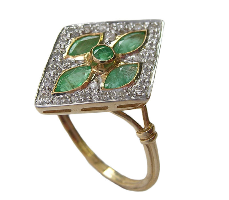 C742- Genuine 9ct Yellow gold NATURAL Emerald & DIAMOND Ring Kite shape size N