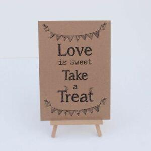 Teken Candy Sweet Bar Kraft Brown 'Love Is Sweet' Teken En Ezel - Wedding